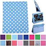 HDE Magnetic Folding Leather Folio Case Cover Stand for Apple iPad 1st Generation Tablet (Blue & White Polka Dots)