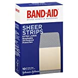 Band Aid Adhesive Bandages, Sheer Strips, Extra Large, 10 bandages