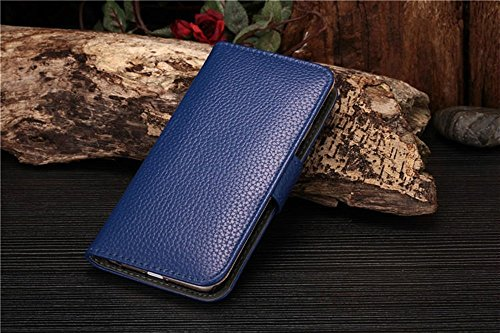 Iphone 6 Phone Case Borch Fashion Multi-Function Wallet For Iphone 6 Case Luxury Litchi Grain Pu Leather Carrying Case Cover With Credit Id Card Slots/ Money Pockets Flip Leather Case For Iphone 6 5.5 Inch Borch Screen Protector (Blue)