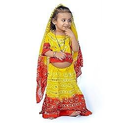 Indiangiftemporium Rajasthani Red n Yellow Bandhej Lehenga Choli Set 119B-16
