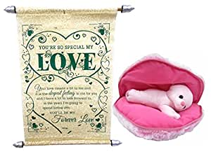 Natali Valentine Gift Set Heart Teddy With Love Scroll Card