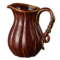 Grasslands Road Home Again Gourd Ceramic Pitcher with Leaf Handle