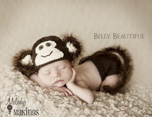 Monkey Hat And Diaper Cover Set Knitting Pattern - 6 Sizes Included front-238404