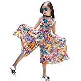 Girl's Summer Cute Floral Straps Jumpsuit Beach Boho Dress Flowers 9-10 Years