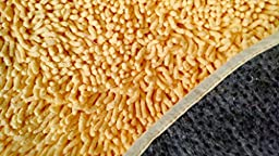 Tache 24 X 36 Inches Solid Butter Yellow Cotton Shag Chenille Super Absorbent All Area Kitchen Bathroom Living Room Doormat Floor Mat Rug