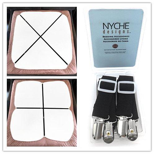 Crisscross Adjustable Bed Sheet Straps Suspenders Model W1 (Set of 2, Black) (Model Sheet compare prices)