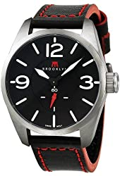 Brooklyn Watch Company Lafayette Black Dial Black Red Accent Leather Swiss Quartz Mens Watch CLA-H