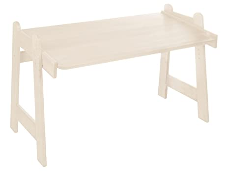 Children's school desk Leon, biological pinewood with white finish