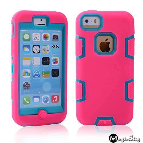 5C Case, Iphone 5C Case Cover, Magicsky Full Body Hybrid Impact Shockproof Defender Case Cover For Apple Iphone 5C, 1 Pack(Blue/Hot Pink)