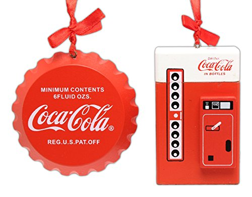 Bundle of 2 Licensed Coca-Cola Christmas Tree Ornaments with Ribbon for Hanging - Vintage Style Bottle Cap and Vending Machine