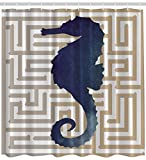Seahorse Labyrinth Nautical Coastal Dreamy Decor Watercolor Interesting Print Fabric Shower Curtain, Exclusive to Pinklim by Ambesonne [並行輸入品]