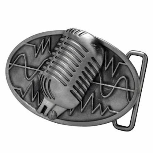 Silver Retro Vintage Microphone Belt Buckle Musician Music