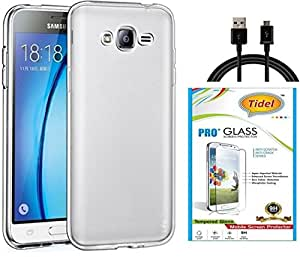 Tidel Crystal Clear Case Soft Flexible TPU Back Cover for Samsung Galaxy J7 (2016) With Tidel 2.5D Curved Tempered Glass &DATA CABLE