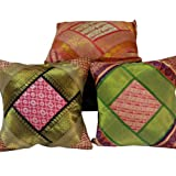 Little India Hand Embroidery Zari Thread Work Silk 5 Piece Cushion Cover - Multicolor