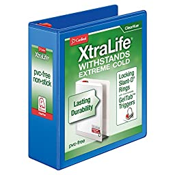 Cardinal XtraLife ClearVue Non-Stick Locking Slant-D Ring Binder, 3-Inch, Blue (26332)