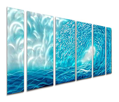 Blue Ocean Waves Decor Large Sea Nautical Metal Wall Art Sculpture Of 65 X 24 Decorative