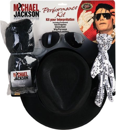 [Michael Jackson Costume Accessory Kit with Wig, Hat, Glove and Glasses by Rubie's] (Michael Jackson Hat And Glove)