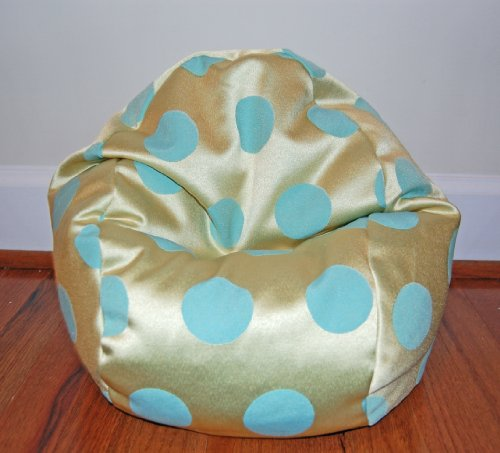 40% Off! Toy Bean Bag Chair For 18 Inch American Girl Sized Dolls - Delightful Dots Chartreuse W/ Aqua Dots - Free Shipping! Made In Usa.