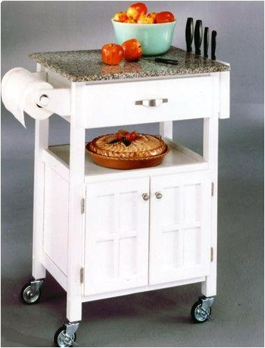 Home Styles Kitchen Cart - White Finish with Salt and Pepper Granite Top 88-5052-95