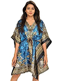 Exotic India Short Boho Kaftan With Floral Print And Dori On Waist