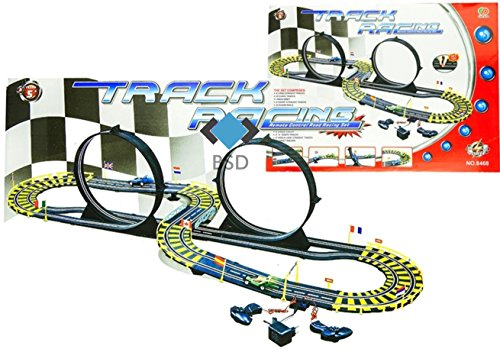 Rennbahn Track Racing Loop mit 2 Loopings und 2 Autos - Speedracer - Spielset - Grosse Renntrack für Autos - Rennbahn autos, Autorennbahn, Rennbahn für Kinder - 565cm