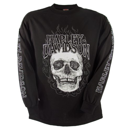 Harley-Davidson Camp Leatherneck Skull Fire Long Sleeve T-Shirt Mens, X-Large, Black