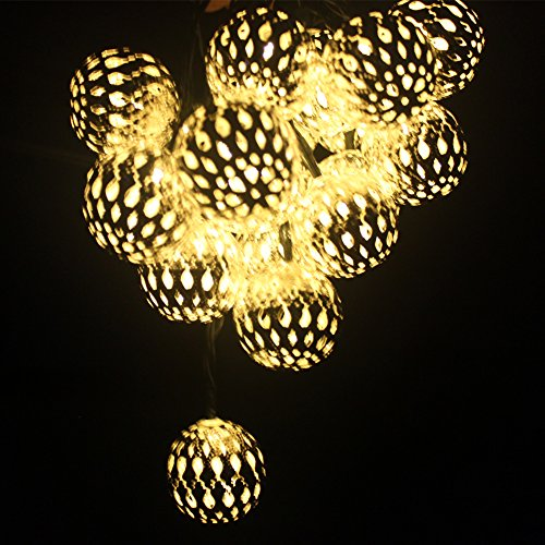 String Lights Garage : Dephen Solar Globe String Lights, Moroccan Ball String Lights Warm White,15ft 20 LED Fairy Orb ...