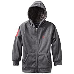 U.S. Polo Assn. Big Boys\' Sherpa Lined Fleece Hoooded Jacket, Dark Heather Gray, 14/16