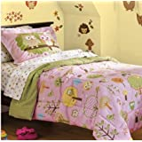 Pink, Green & Yellow Hoot Owl Girls Twin Comforter Set (5 Piece Bed In A Bag)
