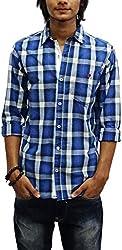 East West Men's Casual Shirt (Ew-Ts015, Blue, XXL)
