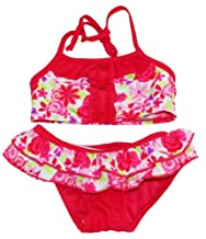 Sweet & Soft Infant Girls 12-24M Red Floral Skirted Bikini & Hair Tie