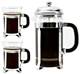 Bruntmor, Premium 8 Cup (34 Oz) French Press Coffee Tea & Espresso Maker & 2 Cups Set (7.5oz) / with 3 Bonus Filter Screens, Stainless Steel Plunger & Borosilicate Heat Resistant Glass, (Instructions Included)