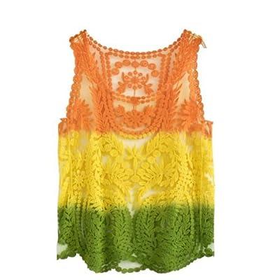 VonFon Women Lace Floral Sleeveless Crochet Knit Vest Tank Top Shirt Blouse