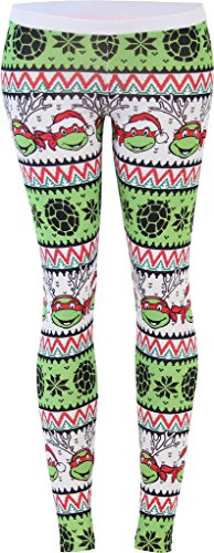 Teenage Mutant Ninja Turtles Ugly Christmas Pattern White Leggings (Juniors X-Large)