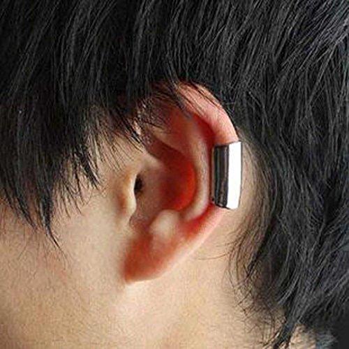HuaYang Fashion Clip Unisexe Alliage sur Cartilage d'Oreille Clip d'oreilles 2pcs (Couleur:Argent)