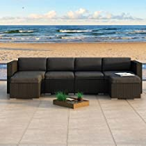 Hot Sale Urbana 6 Piece Wicker Outdoor Sectional Sofa Set with Sunbrella Canvas Charcoal (54048-0000) Cushions