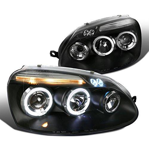 Spec-D Tuning LHP-GLF05JM-TM Volkswagen Golf Rabbit Jetta Black Dual Halo Led Projector Head Lights (Volkswagen Jetta Back Bumper compare prices)