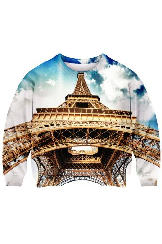 Romwe Women'S The Upward View Eiffel Tower Under Sky Polyester Sweatshirt-Colorful-M front-855361