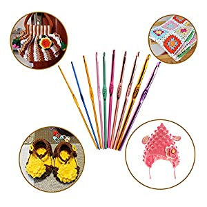 Crochet Hooks, DIY Craft Yarn Mixed Aluminum Handle Knitting Needles Sewing Weave Set Full Kit Tools with Gauge Rule Scissors Stitch Holders (Pink)