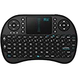 Rii i8 Multifunction 2.4GHz RF Portable Mini Wireless Keyboard with Touchpad Mouse , KODI XBMC Rechargable Keyboard , Multi-media Portable Handheld Android Keyboard for PC Laptop Raspberry PI MacOS Linux HTPC IPTV Google Smart TV Android Box XBMC Windows 2000 XP Vista 7 8 10 (Black)