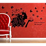Decals Arts Black Marilyn Monroe With Flower Wall Stickers