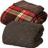 【寒さ対策セット】 Heat Warm 発熱 あったか 敷パッド(ブラウン) & マイクロファイバー あったか2枚合わせ毛布 (タータンチェック/ブラウン) シングル セット 【発熱素材使用/静電気防止加工/洗濯可能】