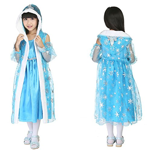 CRAZY POMELO Snow Queen Glitter Party Dress Costume for Children's Gift
