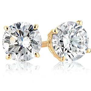 IGI Certified 14k Yellow Gold Round-Cut Diamond Studs (1 cttw, H-I Color, SI2-I1 Clarity)