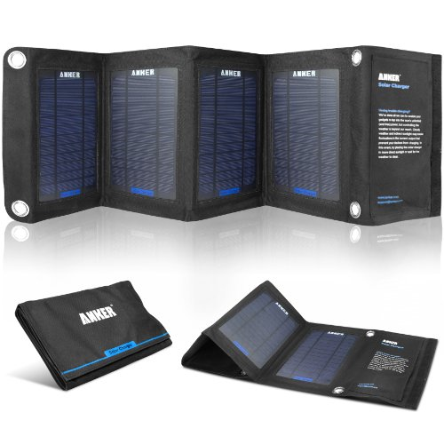 Anker� 14W Solar Panel Foldable Dual-refuge Solar Charger for 5V USB-charged Devices Including GPS Units, iPhone, iPad, Android Phones and Android Tablets