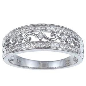 10k White Gold 1/3 TDW Vintage Antique Pave Diamond Ring (G-H, I1-I2) - size 6.5