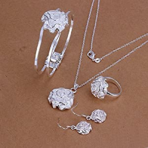 Hot Sale Wedding Fashion 925 Silver Plated Jewelry Set Hand Chain Bracelet Necklace Ring Hook Earings Eardrop A Rose Pendant