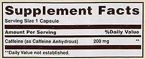 Sundown Caffeine Capsule, 200 mg, 100 Count