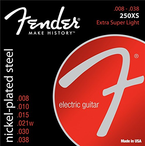 Fender 250XS Nickel Plated Steel Electric Guitar Strings - Extra Super Light (Fender Accesories Guitar compare prices)