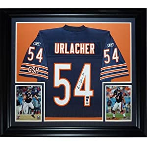 Brian Urlacher Autographed Chicago Bears (Blue #54) Deluxe Framed Jersey by PalmBeachAutographs.com